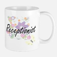 Receptionist Artistic Job Design with Flowers Mugs