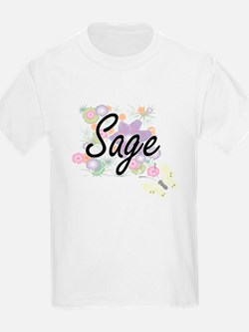 Sage Artistic Job Design with Flowers T-Shirt