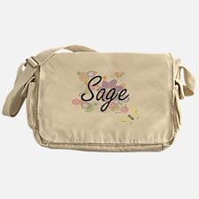 Sage Artistic Job Design with Flower Messenger Bag