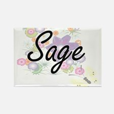 Sage Artistic Job Design with Flowers Magnets