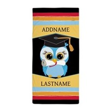 personalized owl with graduation Beach Towel