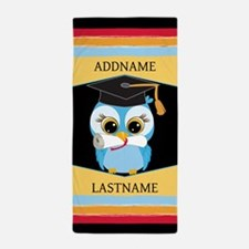 personalized owl with graduation Beach Towel