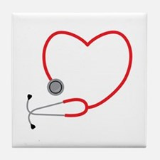 Heart Stethescope Tile Coaster