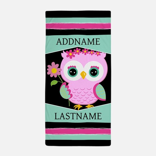 Personalized Pink Owl Beach Towel