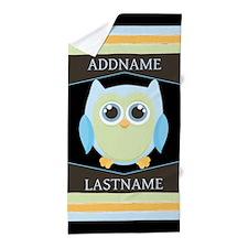 Custom Name Blue Owl Beach Towel