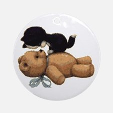 Cute Bear And Black Cat Round Ornament