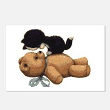 Cute Bear And Black Cat Postcards (package Of 8)