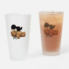 Cute Bear And Black Cat Drinking Glass