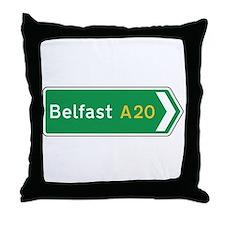 Belfast Roadmarker, UK Throw Pillow