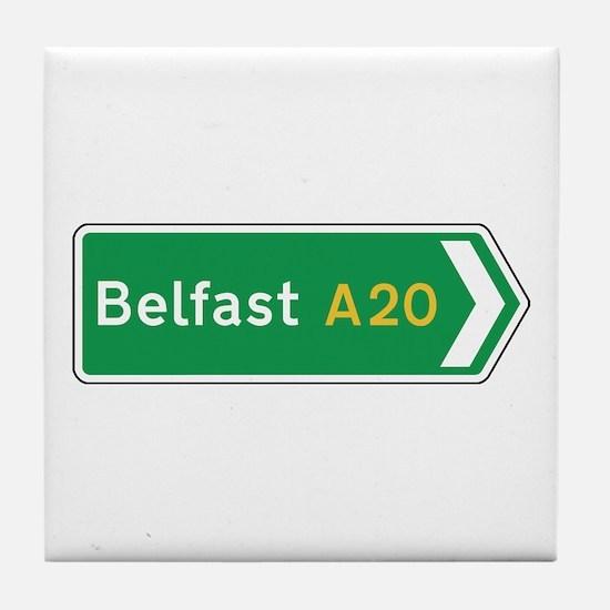 Belfast Roadmarker, UK Tile Coaster
