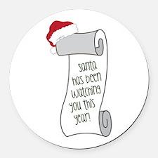 Santa Watching You Round Car Magnet