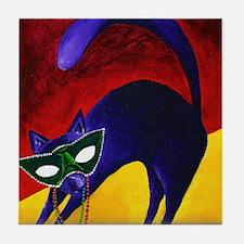 Mardi Gras Cat Tile Coaster