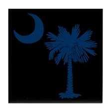 Blue and Black South Carolina Flag Tile Coaster