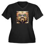 DA MAN Women's Plus Size V-Neck Dark T-Shirt