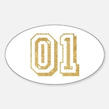Glitter Number 1 Sports Jersey Sticker (Oval)