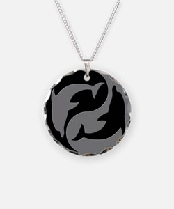 Grey And Black Yin Yang Dolphins Necklace