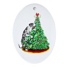 Great Dane Reach Goals Merle UC Oval Ornament
