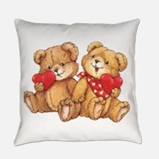 Cute Valentine Bear Couple Everyday Pillow