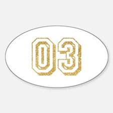 Glitter Number 3 Sports Jersey Sticker (Oval)