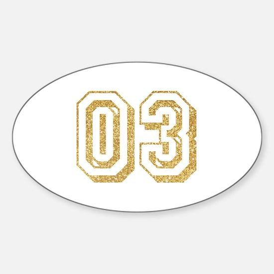 Glitter Number 3 Sports Jersey Sticker (Oval)