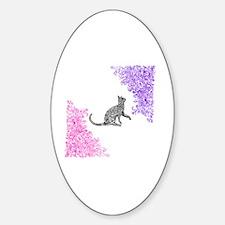 Unique Zen cat Sticker (Oval)