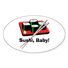 California Roll Sushi Oval Decal