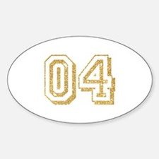 Glitter Number 4 Sports Jersey Sticker (Oval)