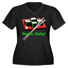 California Roll Sushi Women's Plus Size V-Neck Dar