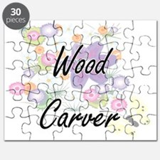 Wood Carver Artistic Job Design with Flower Puzzle