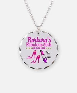 50TH BIRTHDAY Necklace Circle Charm