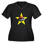 Rock Star Women's Plus Size V-Neck Dark T-Shirt