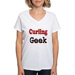 Curling Geek Women's V-Neck T-Shirt