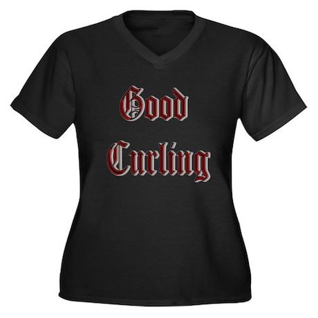 Good Curling Women's Plus Size V-Neck Dark T-Shirt
