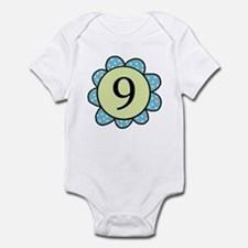 nine blue/green flower infant bodysuit