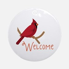 Welcome Cardinal Round Ornament