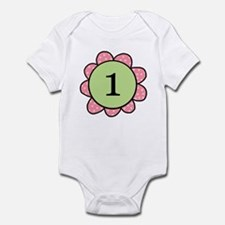 one year pink/green flower infant bodysuit