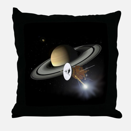 Saturn and the Cassini Probe Throw Pillow