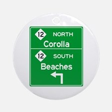 Outer Banks Route 12 Sign Round Ornament