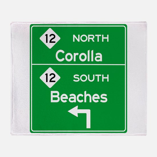 Outer Banks Route 12 Sign Throw Blanket