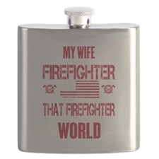Firefighter Wife World Flask