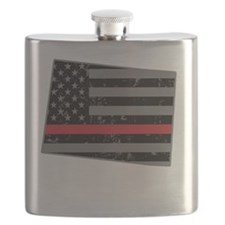 Colorado Firefighter Thin Red Line Flask