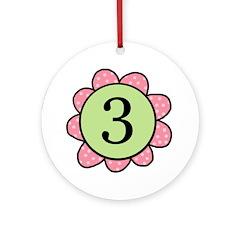 three pink/green Ornament (Round)