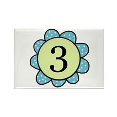 three blue/green flower magnet