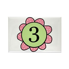 three pink/green flower magnet
