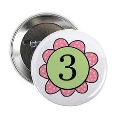 three pink/green flower button