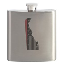 Delaware Firefighter Thin Red Line Flask
