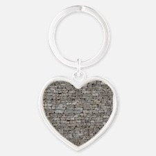 STONE WALL GREY Heart Keychain