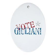 Vote Giuliani President 2008 Elect Oval Ornament
