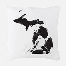 Ski Michigan Woven Throw Pillow