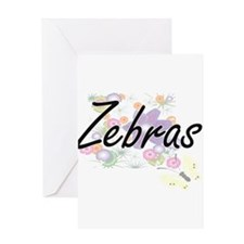 Zebras artistic design with flowers Greeting Cards